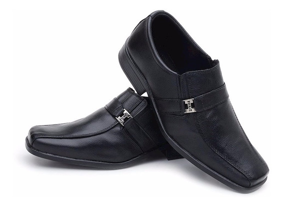 Sapato Masculino Em Couro Brinde Meia Social Promoçâo