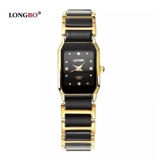 Relógio Feminino Longbo Preto Dourado Quadrado Mini Mod409a