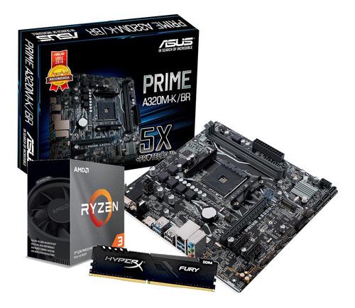 Kit Processador Amd Ryzen 3 3100 Asus A320m-k/br Hx 4gb