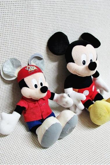 Mickey Pelucias Lote (2) Antigas Disney 25 Cm Bau10