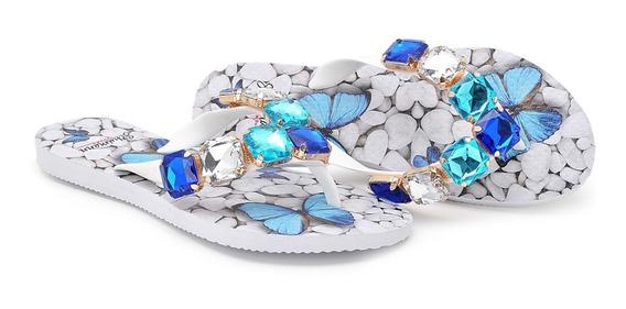 Chinelo,sandalia,rasteira Feminina,pedraria Azul Ch09