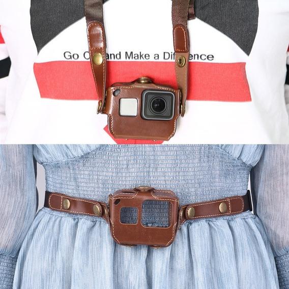 Capa Protetora Para Gopro Hero 6/5 Câmera De Ação Pu Couro S