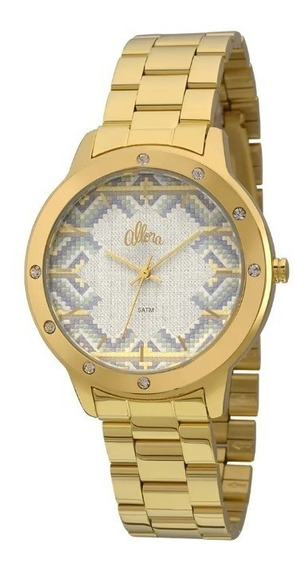 Relógio Allora Feminino Tramas Étnicas Al2035fft/4g-dourado