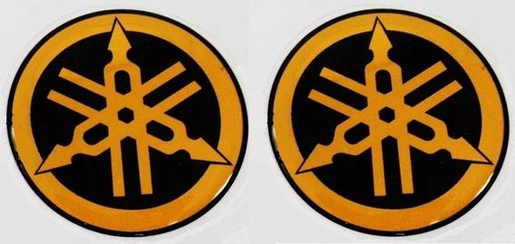 Par Emblema Adesiv Resinado Yamaha Dourado 4,5cm Tanque Moto