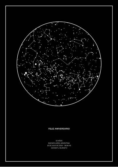 Mapa De Estrellas Luz Personalizado