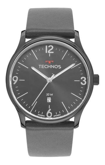 Relógio Masculino Technos Steel Grafite Couro 2115muo/2c Nf