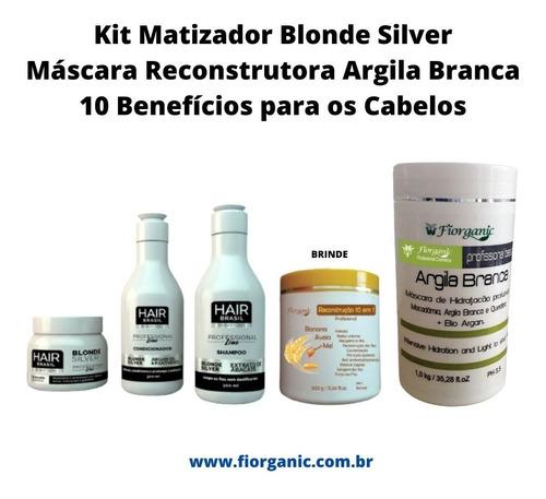 Imagem 1 de 4 de Matizador Profissional Blonde Silver + Argila Branca + Brind