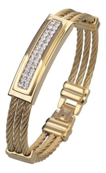 Bracelete Masculino Aço Inoxidável Banhado A Ouro