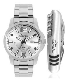 Relógio Condor Masculino Prata Co2115ktk/k3k + Canivete