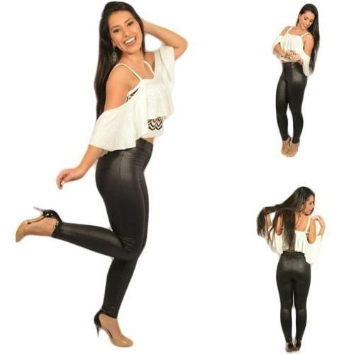 Calça-disco Pants-cirrê-panicats-zíper,botão-bolso Traseiro