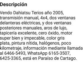 Daihatsu Terios 2005 4x4 Manual