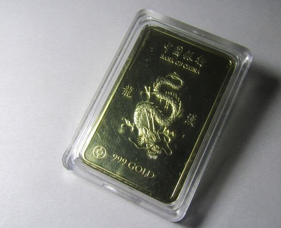 Lingote De Dragon China En Baño Simil De Oro Proof