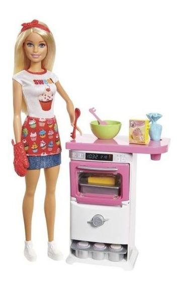 Boneca Barbie Chef Dos Bolinhos Fhp57 Mattel - Branco