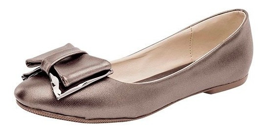 Zapato De Piso Dama Balerina Been Class 12574 Gris 22-26 T4