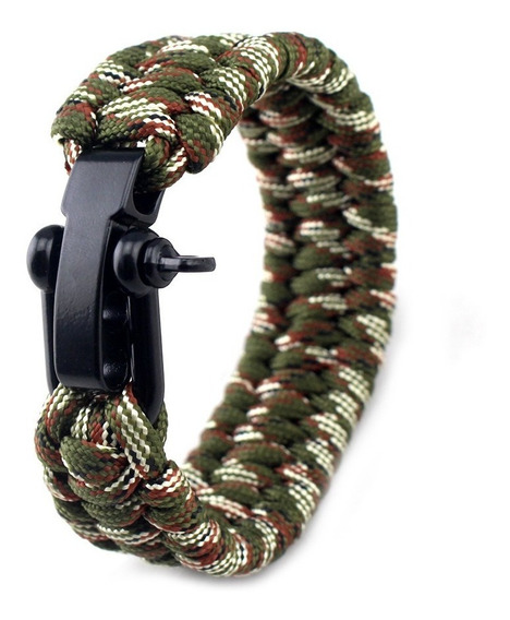 Bracelete Paracord Com Fecho Metálico Ajustável - Camuflado