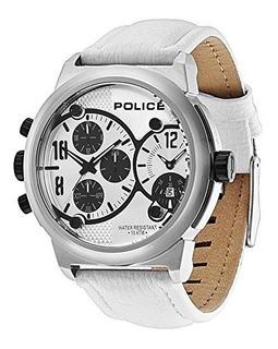 Reloj Police Cuero Blanco Hora Dual 100m Pl 12739jis/04a