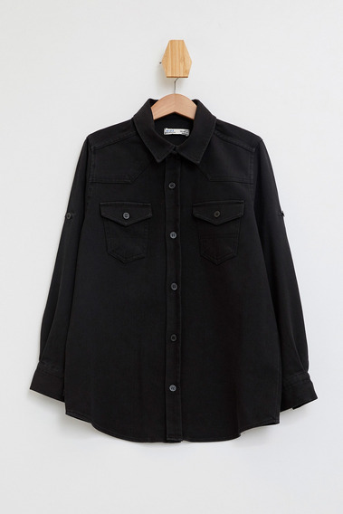Camisa Mangas Largas Para Niños K9753a6_nm40 Negro