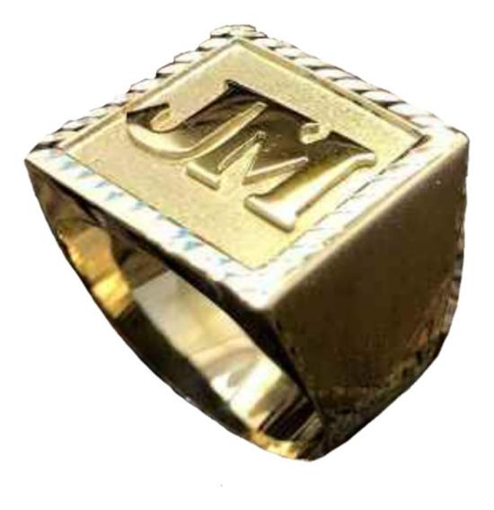 Anel De Letra Masculino 10,0g Em Ouro 18k - 750