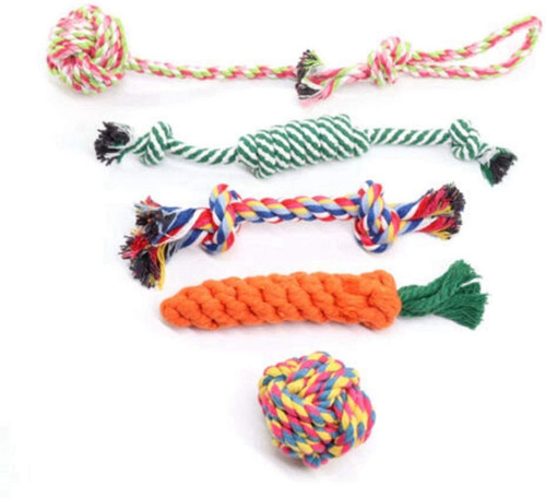 5pcs/set Pet Teeth Cleaning Cotton Knot Rope Ball Dog Rope C