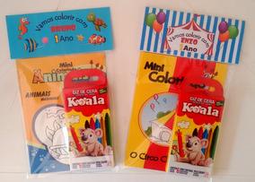 100 Kits Livro De Colorir + Giz C/ Embalagem E Personalizado