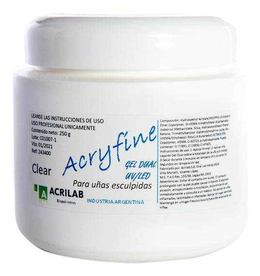 Acryfine Gel Uv Led Modelado Uñas Esculpidas Clear 250gr