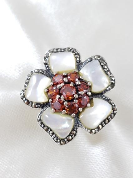 Anel De Prata 925 Flor Com Madrepérola Granadas Macassitas