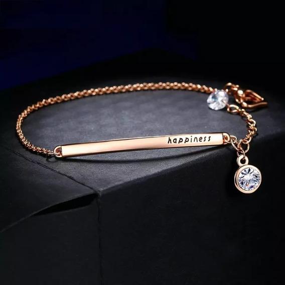 Brazalete Oro Rosa Laminado 18 K, Cristales, Envio Gratis