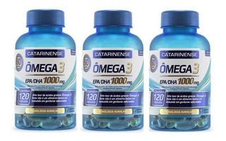 3 Potes Omega 3 Catarinense 1000mg C/120 Cápsulas - Original
