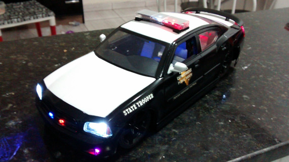 Dodge Charger Texas Police Dps 1/18 Jada Com Luzes E Sirenes