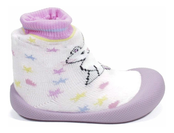 Meia Infantil Klin Com Sola Comfort Feminina - Rosa/lilas