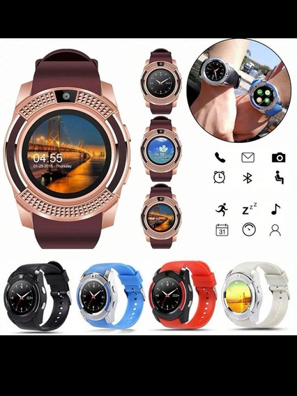 Smart Watch V8 Reloj Celular Redondo 360 Sim Camara Sd Bt.