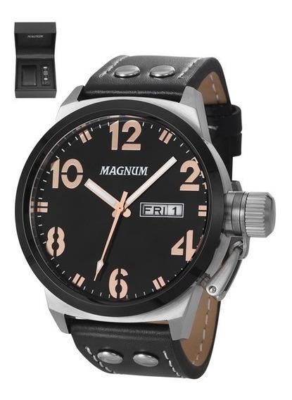 Relógio Magnum Masculino Couro Ma32783c + Pulseira
