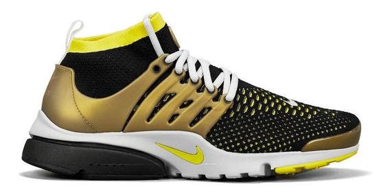 Nike Air Presto Mid Flyknit Ultra Black/yellow/gold