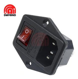 Socket Conector Macho Con Porta Fusible Interruptor Con Luz