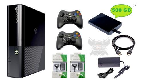 Xbox 360 Ultra Slim E 5.0 + Disco 500gb 200j +2 Controles Cj