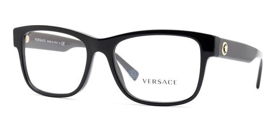 Lentes Versace 3266 Gb1 Negro Oftalmico Caballero Original