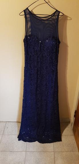 Vestido De Encaje Importado!!! De Fiesta Color Azul Oscuro