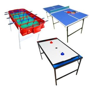 Combo Metegol Aluminio + Ping Pong Familiar Plegable + Tejo