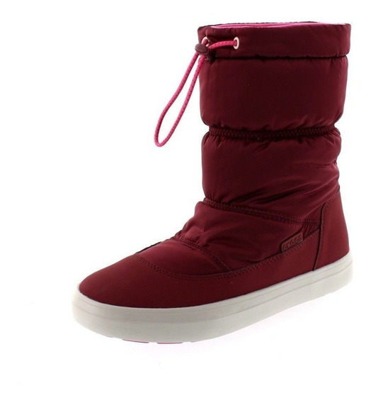 Botas Mujer Crocs Lodgepoint Shiny Pull On W Garnet/candy P