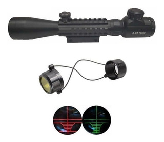 Luneta Mira Retículo Iluminado Riflescope 3-9x40 Mount Único P/ Trilho 11mm/22mm Com Suporte Para Lanterna E Acessórios