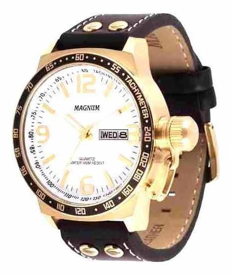 Relógio Masculino Magnum Analógico Preto/dourado Ma31542 +nf