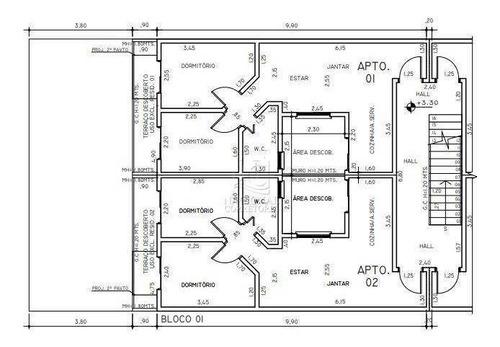 Cobertura Com 2 Dormitórios À Venda, 84 M² Por R$ 335.000,00 - Campestre - Santo André/sp - Co5279