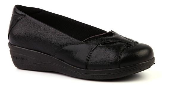 Sapato Feminino Anabela 194 Em Couro Preto Doctor Shoes