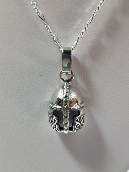 Dije De Casco De Gladiador Oxidado Plata Ley .925 Con Cadena