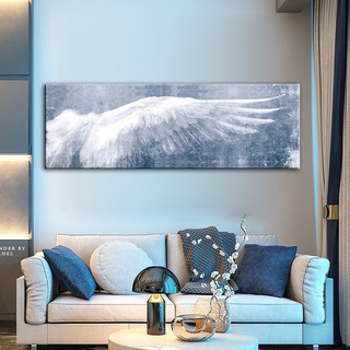 Cuadro Decorativo Alas Angel Azul Lienzo Canvas 180x60