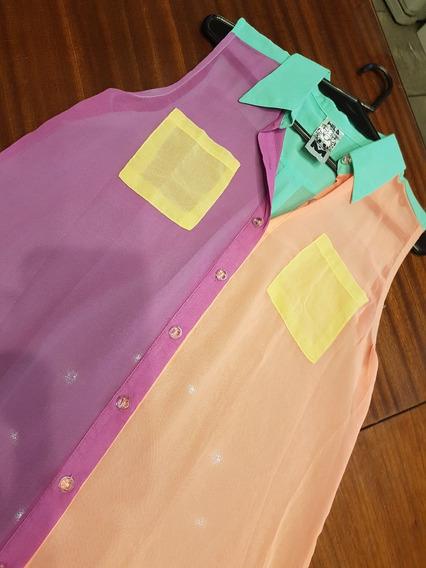 Camisa Wila, En Crep De Colores T M