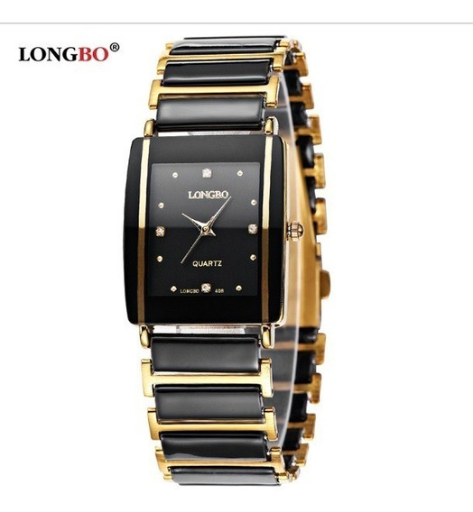 Relógio Feminino Black Gold Prata Dourado Quadrado Longbo