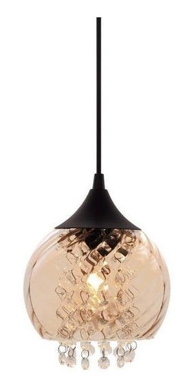 Luminária Pendente Taschibra Aisha Conhaque, Vidro