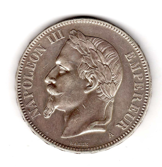 Bkz / Francia - 5 Francs 1870 Plata Napoléon 3ro