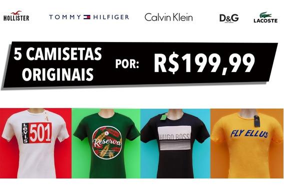 Atacado Kit 5 Camisetas Originais: Lacoste, Tommy E Mais.